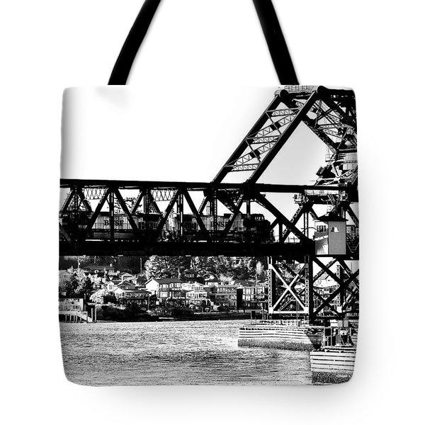 Salmon Bay Bridge Tote Bag by Benjamin Yeager