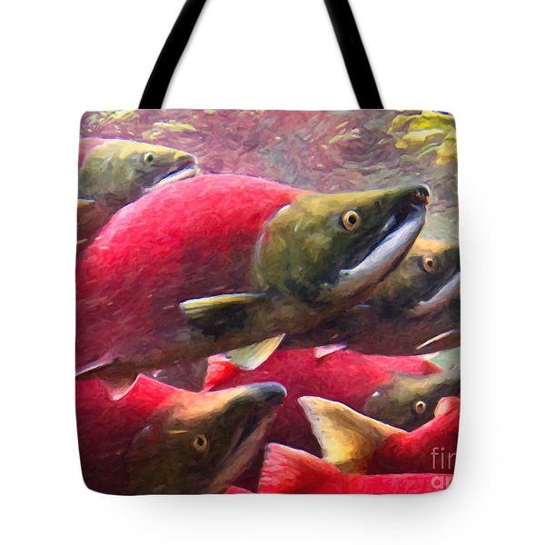 Salmon Run - Painterly Tote Bag by Wingsdomain Art and Photography