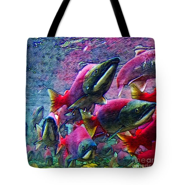 Salmon Run - Square - 2013-0103 Tote Bag by Wingsdomain Art and Photography