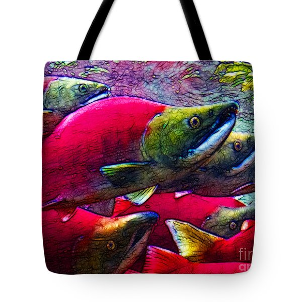 Salmon Run Tote Bag by Wingsdomain Art and Photography
