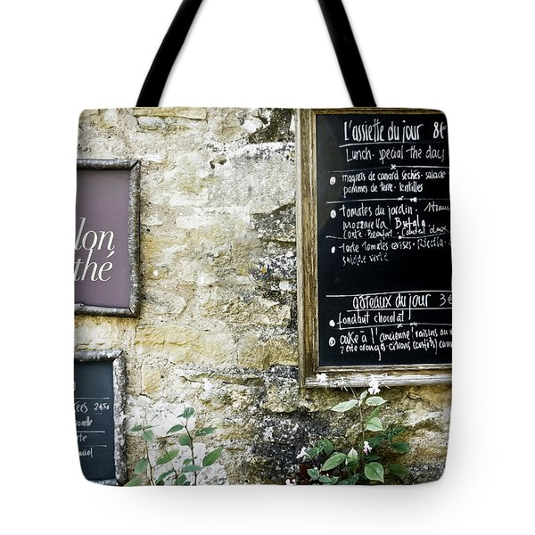 Salon De The - French Menu Signs Tote Bag by Nomad Art And  Design