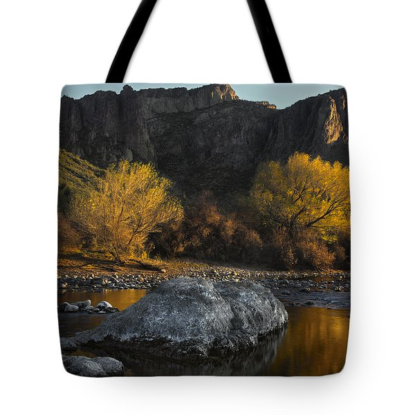 Salt River Fall Foliage Tote Bag by Dave Dilli