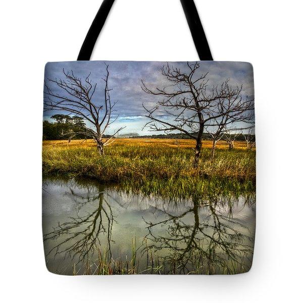 Salty Marsh At Jekyll Island Tote Bag by Debra and Dave Vanderlaan