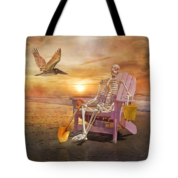 Sam Is Tickled With A Visiting Pelican Tote Bag by Betsy A  Cutler