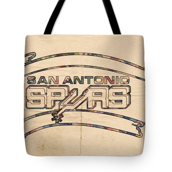 San Antonio Spurs Logo Vintage Tote Bag by Florian Rodarte