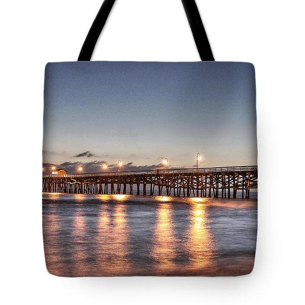 San Clemente Pier At Night Tote Bag by Richard Cheski