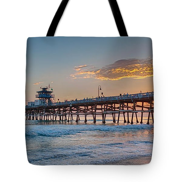 San Clemente Pier Sunset Tote Bag by Scott Campbell
