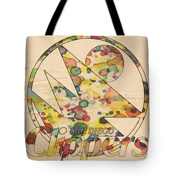 San Diego Clippers Retro Poster Tote Bag by Florian Rodarte