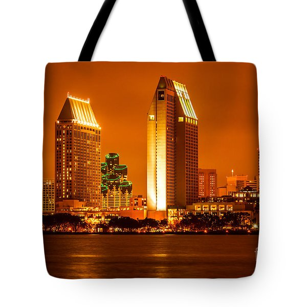 San Diego Skyline At Night Along San Diego Bay Tote Bag by Paul Velgos