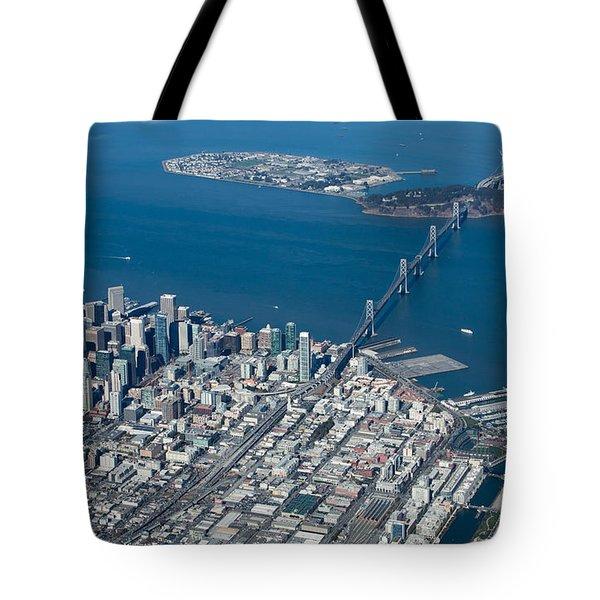 San Francisco Bay Bridge Aerial Photograph Tote Bag by John Daly