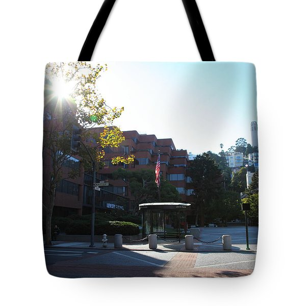 San Francisco Coit Tower At Levis Plaza 5D26189 Tote Bag by Wingsdomain Art and Photography