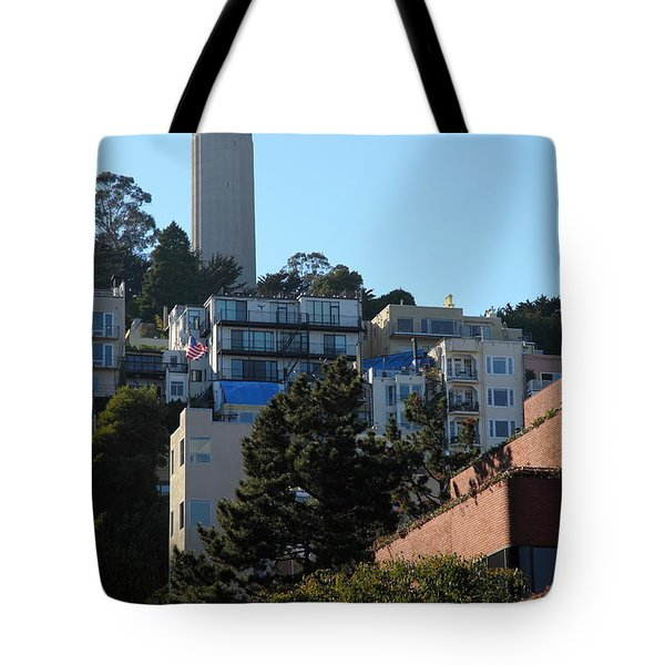 San Francisco Coit Tower At Levis Plaza 5D26192 Tote Bag by Wingsdomain Art and Photography
