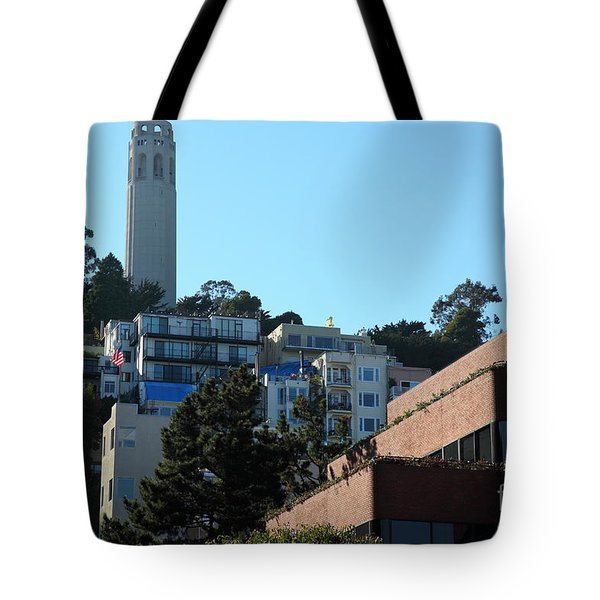 San Francisco Coit Tower At Levis Plaza 5D26193 Tote Bag by Wingsdomain Art and Photography