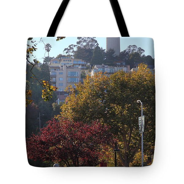 San Francisco Coit Tower At Levis Plaza 5D26216 Tote Bag by Wingsdomain Art and Photography