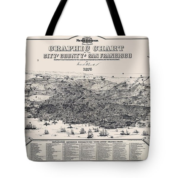 San Francisco Graphic Map 1875 Tote Bag by Daniel Hagerman