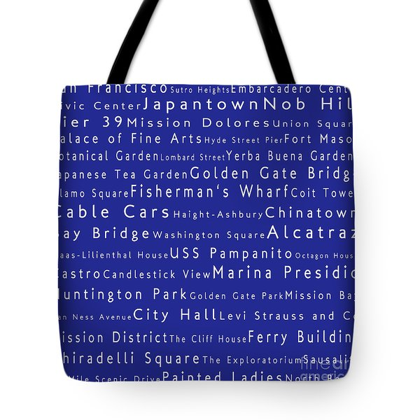 San Francisco In Words Blue Tote Bag by Sabine Jacobs