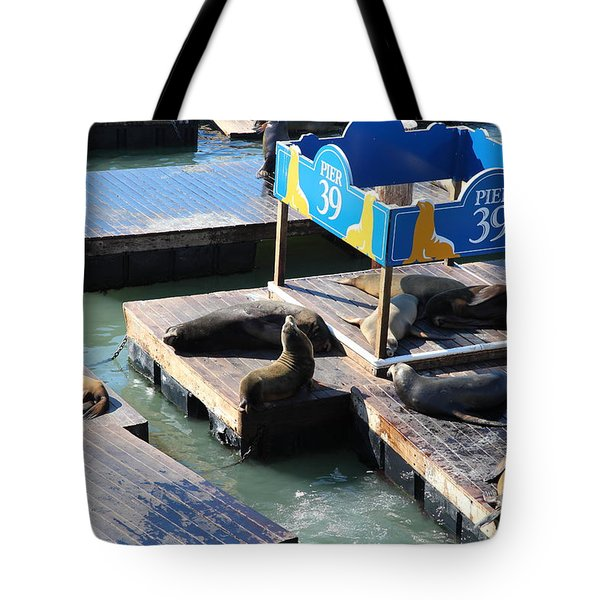 San Francisco Pier 39 Sea Lions 5D26105 Tote Bag by Wingsdomain Art and Photography