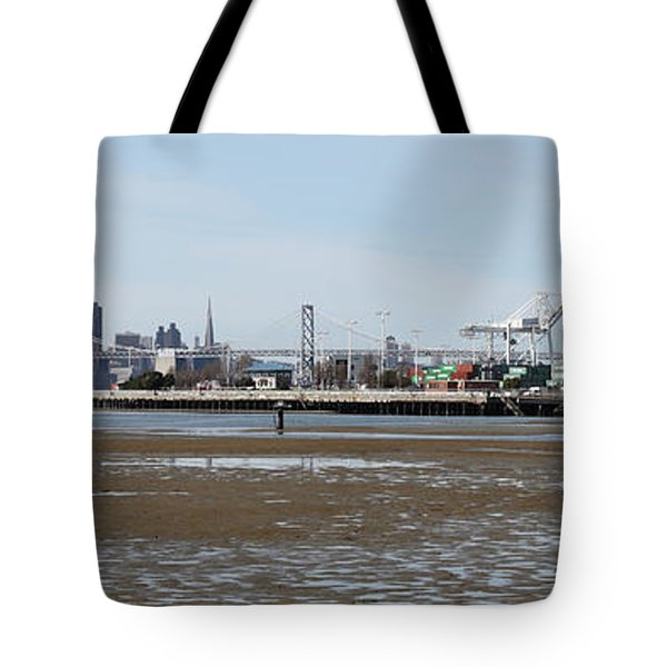 San Francisco Skyline And The Bay Bridge Through The Port Of Oakland 5d22238 Tote Bag by Wingsdomain Art and Photography