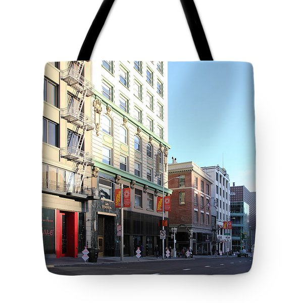 San Francisco Stockton Street At Union Square - 5d20564 Tote Bag by Wingsdomain Art and Photography