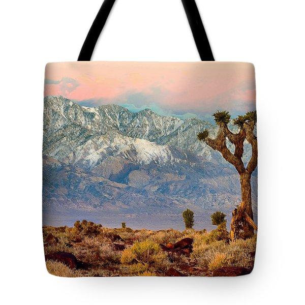 San Gorgonio Mountain From Joshua Tree National Park Tote Bag by Bob and Nadine Johnston