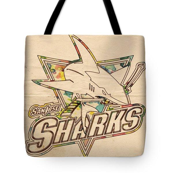 San Jose Sharks Vintage Poster Tote Bag by Florian Rodarte