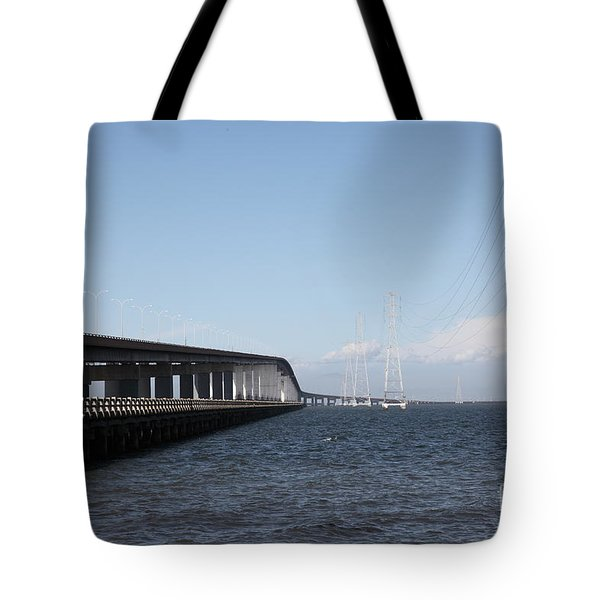 San Mateo Bridge In The California Bay Area 5d21893 Tote Bag by Wingsdomain Art and Photography