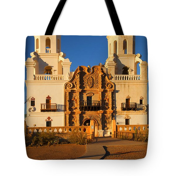 San Xavier Mission Tote Bag by Mike  Dawson