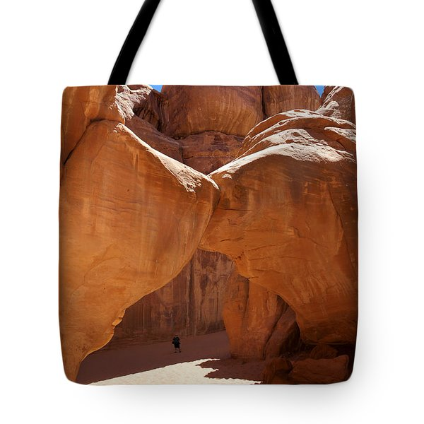 Sand Dune Arch With Gary Tote Bag by Mike McGlothlen