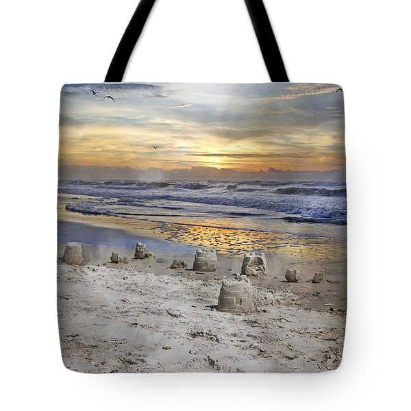 Sandcastle Sunrise Tote Bag by Betsy A  Cutler