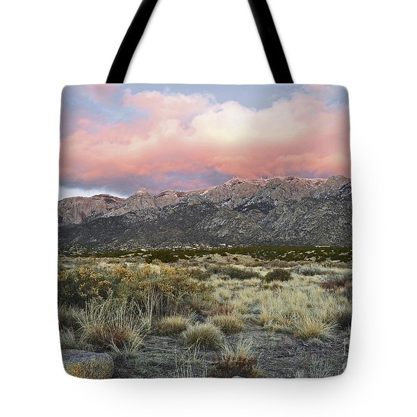 Sandia Sunset Mountain Tote Bag by Andrea Hazel Ihlefeld
