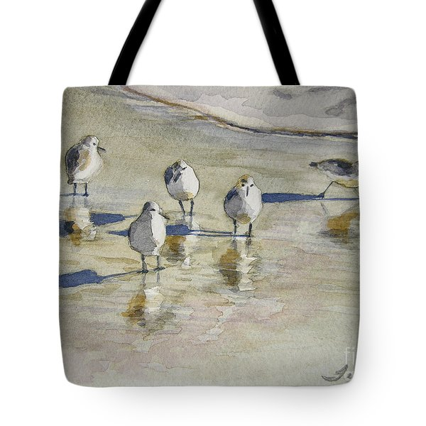 Sandpipers 2 Watercolor 5-13-12 Julianne Felton Tote Bag by Julianne Felton