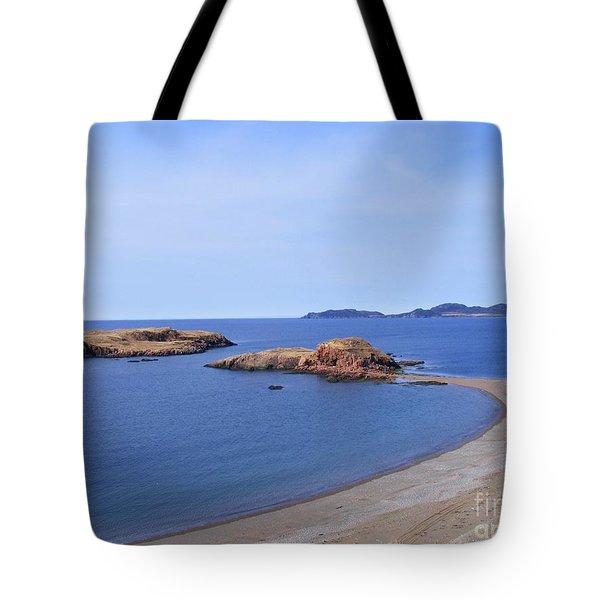 Sandy Beach - Little Island - Coastline - Seascape  Tote Bag by Barbara Griffin