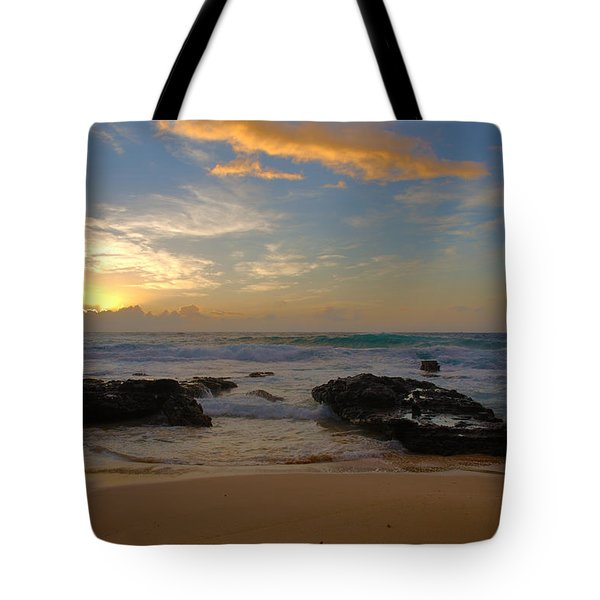 Sandy Beach Sunrise 3 - Oahu Hawaii Tote Bag by Brian Harig
