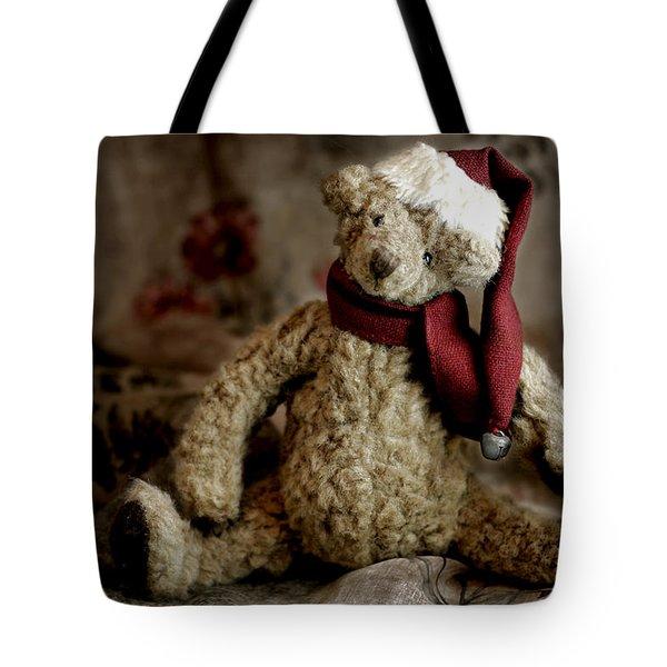Santa Bear Tote Bag by Carol Leigh