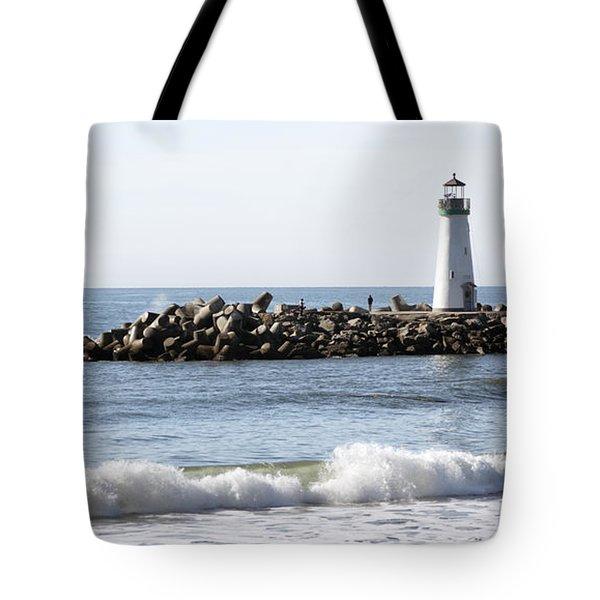 Santa Cruz Lighthouse Wave Wide Tote Bag by Barbara Snyder
