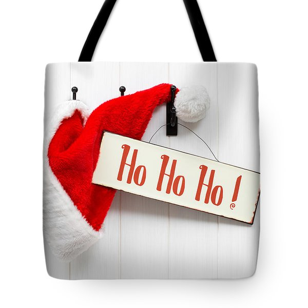 Santa Hat and Sign Tote Bag by Amanda And Christopher Elwell