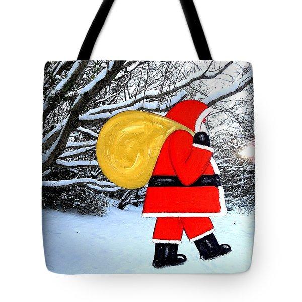 SANTA IN WINTER WONDERLAND Tote Bag by Patrick J Murphy