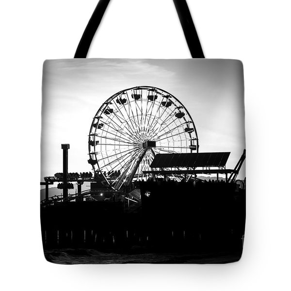 Santa Monica Ferris Wheel Black and White Photo Tote Bag by Paul Velgos