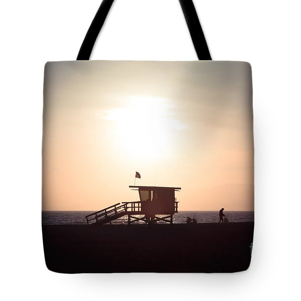 Santa Monica Lifeguard Stand Sunset Photo Tote Bag by Paul Velgos