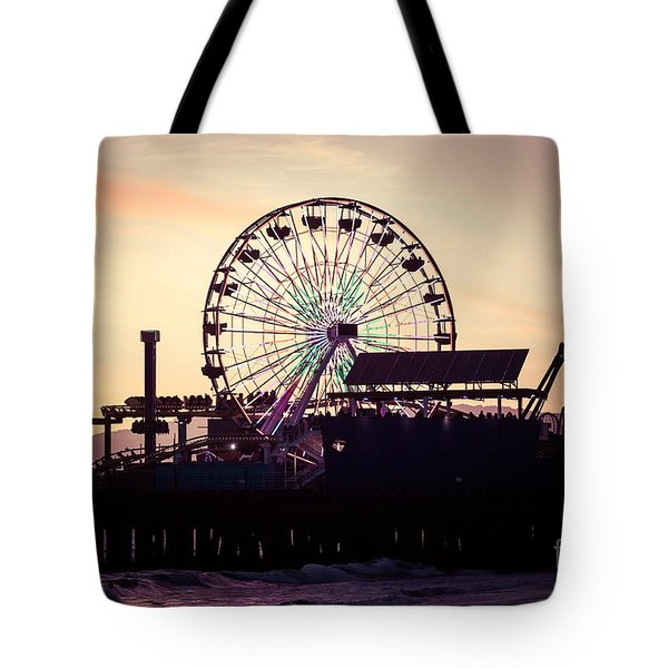 Santa Monica Pier Ferris Wheel Retro Photo Tote Bag by Paul Velgos