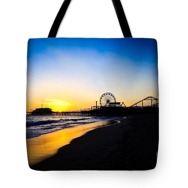 Santa Monica Pier Pacific Ocean Sunset Tote Bag by Paul Velgos