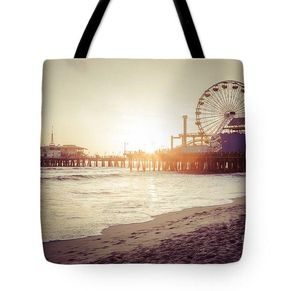 Santa Monica Pier Retro Sunset Picture Tote Bag by Paul Velgos