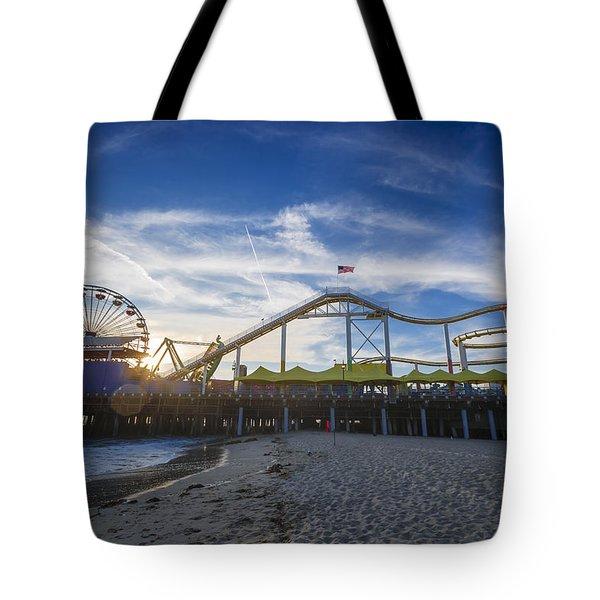 Santa Monica Pier Rides No Swimming Beach Tote Bag by Scott Campbell