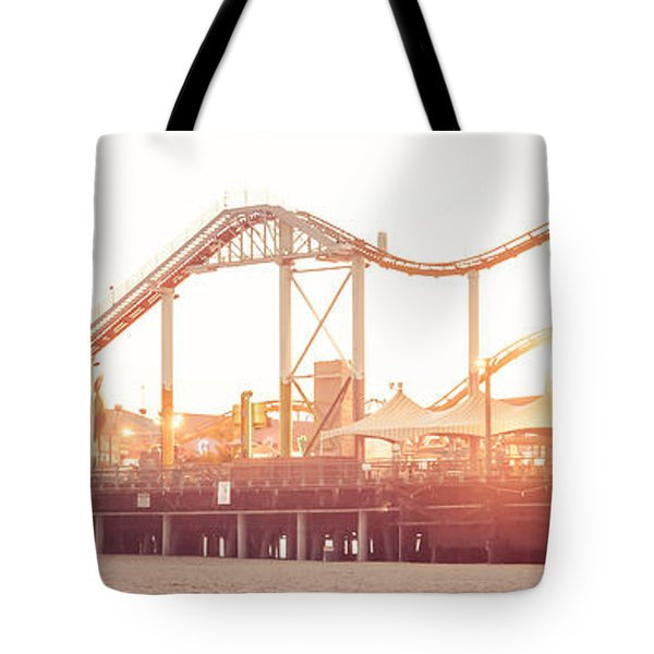 Santa Monica Pier Roller Coaster Panorama Photo Tote Bag by Paul Velgos