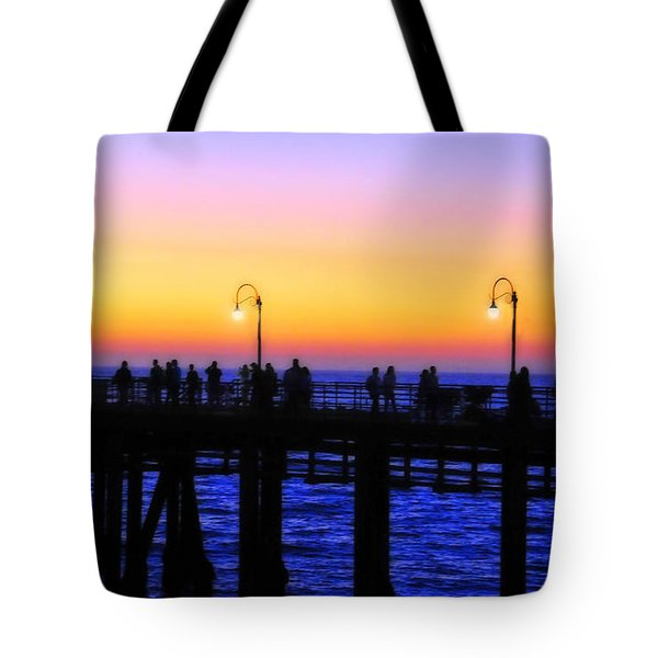 Santa Monica Pier Sunset Silhouettes Tote Bag by Lynn Bauer