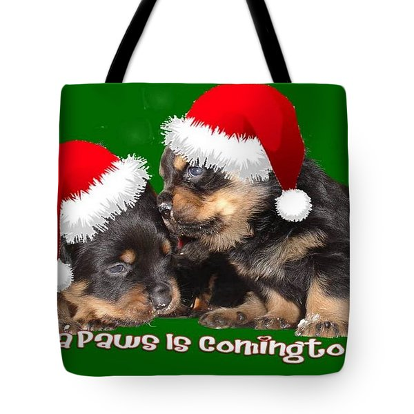 Santa Paws Is Coming To Town Christmas Greeting Tote Bag by Tracey Harrington-Simpson