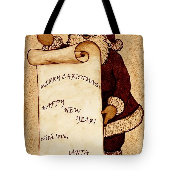Santa Wishes Digital Art Tote Bag by Georgeta  Blanaru