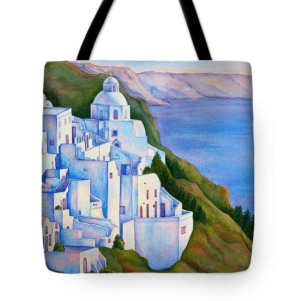 Santorini Greece Watercolor Tote Bag by Michelle Wiarda