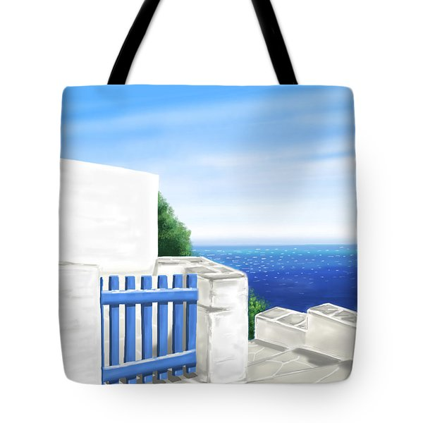 Santorini Tote Bag by Veronica Minozzi