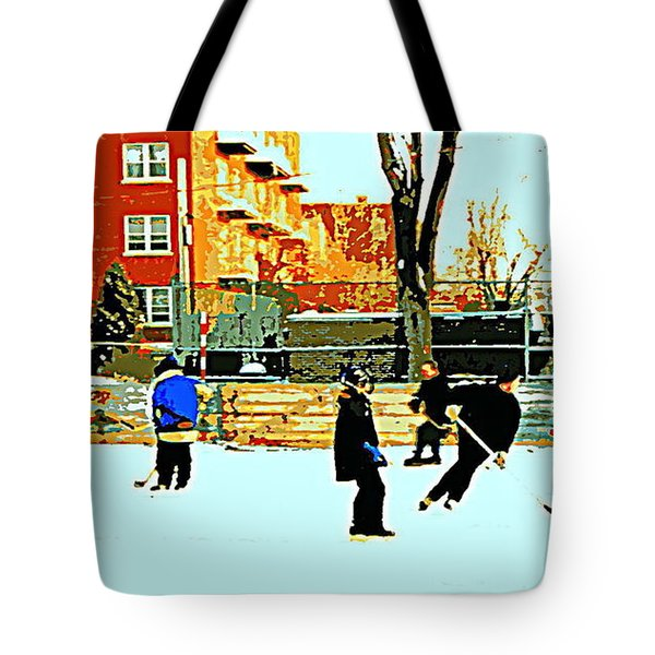 Saturday Afternoon Hockey Practice At The Neighborhood Rink Montreal Winter City Scene Tote Bag by Carole Spandau